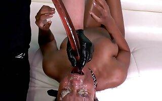 Throat destroying a black first timer