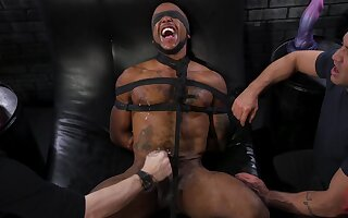 Black submissive gay dude blindfolded and tied up for extreme abuse
