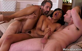 Ebony girl fucked by two older guys and jizzed on face