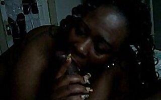 Ebony chick swallows rod