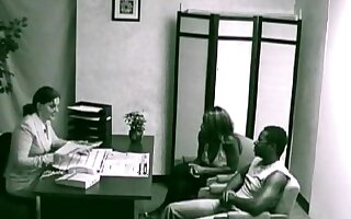 Ebony usa couple applying for a loan have a quickie in the company office