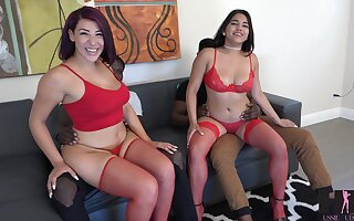 Two beamy black guys bang PAWGs Valentina Jewels together with Julz Gotti