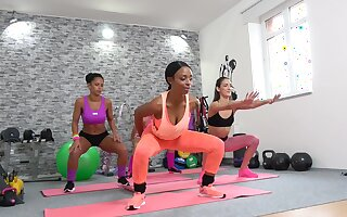 Flexi babes are having a naughty lesbian bet during their yoga class