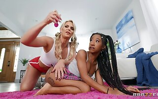 Lesbian interracial sexual congress on the bed - Phoenix Marie and Mini Stallion
