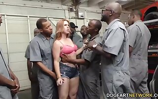 Monumental bukkake be expeditious for white bitch Edyn Blair after hardcore blowbang