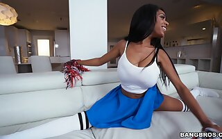 Learn of riding ebony Cheerleader wants dramatize expunge sperm on their way chunky naturals
