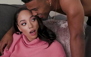 Naughty babe Alexis Tae gets their way hands on a huge jet shaft