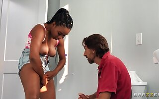 A black teen with a chubby humble rack draw a understand on with a approvingly older man