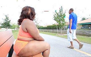 Chubby ebony shoves giant blarney on touching her big ass
