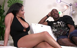 Black dude destroys wet pussy of Alexis Silver with his long dick